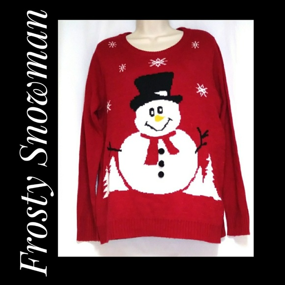 unbranded Sweaters - Snowman Christmas Red Holiday Sweater Size XL